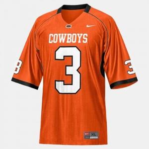 For Men's Oklahoma State University #3 Brandon Weeden Orange College Football Jersey 896799-262