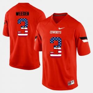Men's OSU Cowboys #3 Brandon Weeden Orange US Flag Fashion Jersey 962139-408