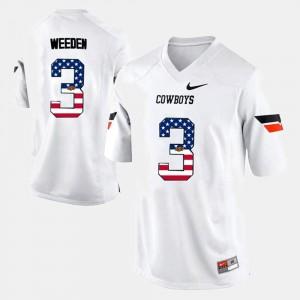 Mens OK State #3 Brandon Weeden White US Flag Fashion Jersey 389241-790