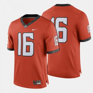 For Men's Oklahoma State #16 Orange College Football Jersey 710949-572