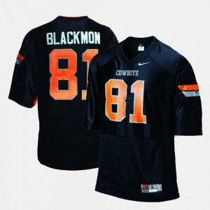Men Oklahoma State Cowboys #81 Justin Blackmon Black College Football Jersey 651244-539