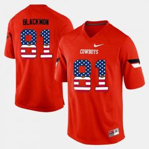 For Men's OSU Cowboys #81 Justin Blackmon Orange US Flag Fashion Jersey 253862-388