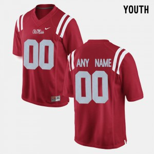 Youth(Kids) Ole Miss Rebels #00 Red College Limited Football Customized Jerseys 138038-476