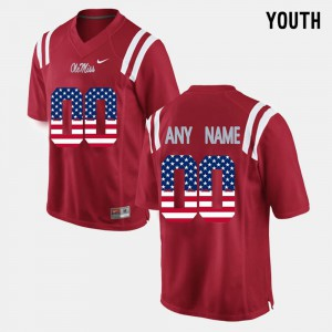 Youth(Kids) Ole Miss #00 Red US Flag Fashion Customized Jerseys 939946-322