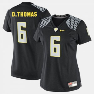 For Women University of Oregon #6 De'Anthony Thomas Black College Football Jersey 358724-680