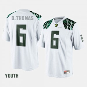 Youth(Kids) Oregon Duck #6 De'Anthony Thomas White College Football Jersey 127805-541