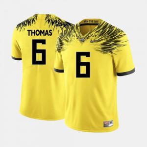Men Ducks #6 De'Anthony Thomas Yellow College Football Jersey 996565-958