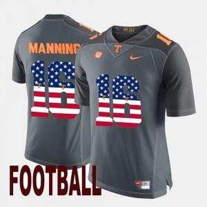 For Men UT Volunteer #16 Peyton Manning Gray US Flag Fashion Jersey 349179-197