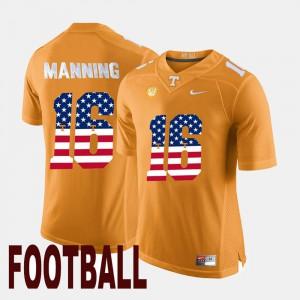 Mens Tennessee #16 Peyton Manning Orange US Flag Fashion Jersey 626966-960