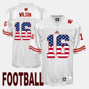 For Men Wisconsin Badgers #16 Russell Wilson White US Flag Fashion Jersey 447582-184