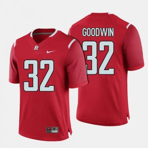 For Men's Rutgers Scarlet Knights #32 Justin Goodwin Red College Football Jersey 136839-685