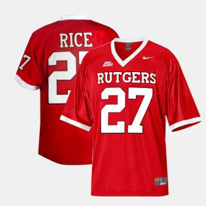 For Men's Rutgers University #27 Ray Rice Red College Football Jersey 163898-626