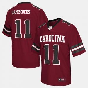 Mens USC Gamecocks #11 Garnet College Football Jersey 910535-611