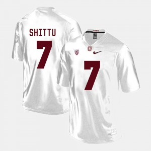 Mens Cardinal #7 Aziz Shittu White College Football Jersey 437783-779