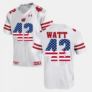 For Men's Wisconsin Badger #42 T.J Watt White US Flag Fashion Jersey 213434-872