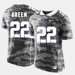 Men's TCU Horned Frogs #22 Aaron Green Grey College Football Jersey 125985-577