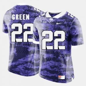 Mens TCU #22 Aaron Green Purple College Football Jersey 301424-266