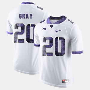 For Men's Horned Frogs #20 Deante Gray White College Football Jersey 245431-584