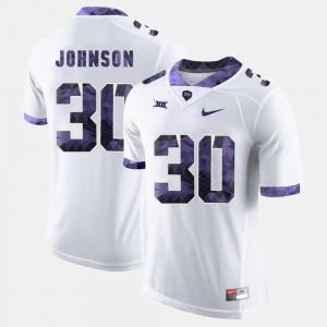 Mens TCU University #30 Denzel Johnson White College Football Jersey 771804-643