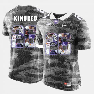 For Men Texas Christian #26 Derrick Kindred Grey High-School Pride Pictorial Limited Jersey 701749-427