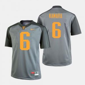 For Men's University Of Tennessee #6 Alvin Kamara Gray College Football Jersey 648854-285