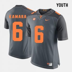 Kids University Of Tennessee #6 Alvin Kamara Grey College Football Jersey 682209-250