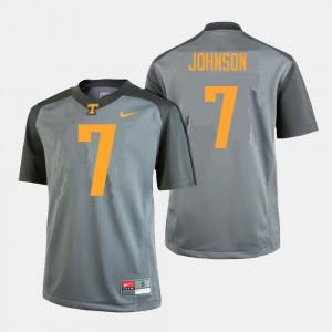 Men Tennessee Volunteers #7 Brandon Johnson Gray College Football Jersey 827470-301