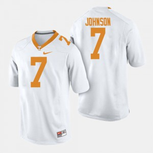 Mens University Of Tennessee #7 Brandon Johnson White College Football Jersey 577515-120