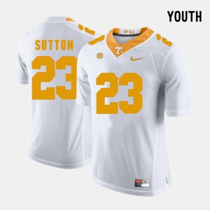Youth(Kids) UT VOLS #23 Cameron Sutton White College Football Jersey 138087-875