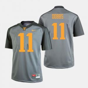For Men's University Of Tennessee #11 Joshua Dobbs Gray College Football Jersey 430402-145