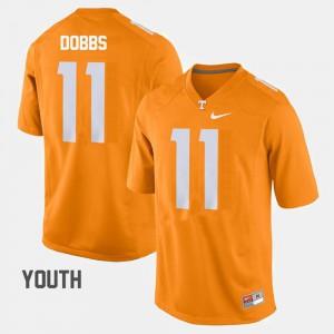 Youth(Kids) UT VOL #11 Joshua Dobbs Orange College Football Jersey 119452-972
