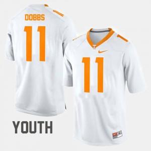 Youth Vols #11 Joshua Dobbs White College Football Jersey 199485-392