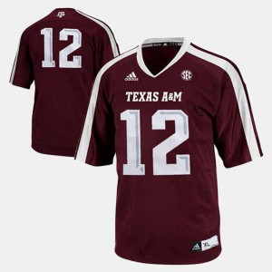 For Kids A&M #12 Burgundy College Football Jersey 418958-125