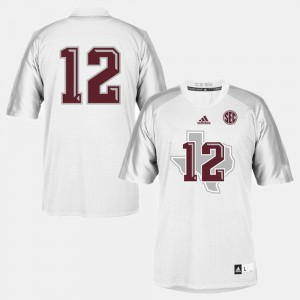 Youth(Kids) Aggies #12 White College Football Jersey 290833-125