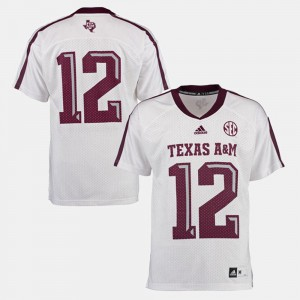 Men A&M #12 White College Football Jersey 419917-627