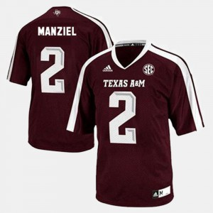 For Men's Aggies #2 Johnny Manziel Red College Football Jersey 115129-814