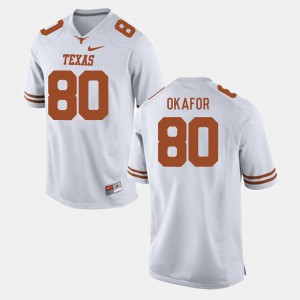 For Men's Texas Longhorns #80 Alex Okafor White College Football Jersey 399225-287