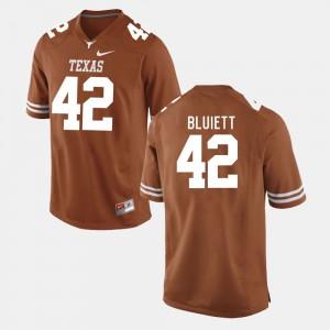For Men's Texas Longhorns #42 Caleb Bluiett Burnt Orange College Football Jersey 938368-130