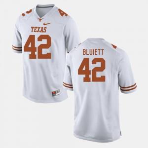 Men University of Texas #42 Caleb Bluiett White College Football Jersey 677288-528