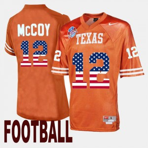Men Texas Longhorns #12 Colt McCoy Orange Throwback Jersey 113364-214