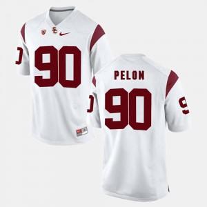 Mens USC Trojan #90 Claude Pelon White Pac-12 Game Jersey 329844-858