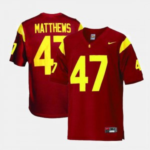 Men's USC #47 Clay Matthews Red College Football Jersey 178207-418
