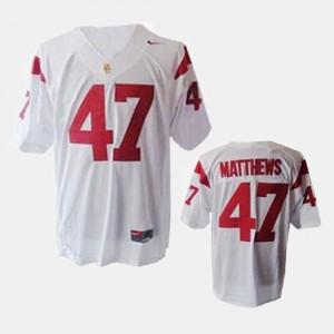 For Men Trojans #47 Clay Matthews White College Football Jersey 712775-468