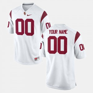 Mens USC #00 White College Football Custom Jersey 522554-156