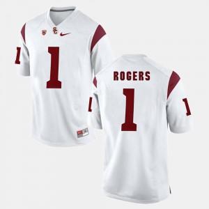Mens USC Trojan #1 Darreus Rogers White Pac-12 Game Jersey 828414-268