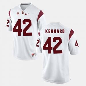 Men Trojans #42 Devon Kennard White Pac-12 Game Jersey 172365-661