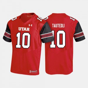 Men University of Utah #10 Sunia Tauteoli Red College Football Jersey 717678-959