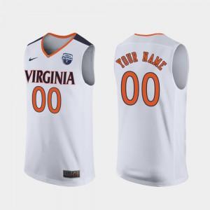 Men Virginia Cavaliers #00 White 2019 Men's Basketball Champions Customized Jerseys 565163-980