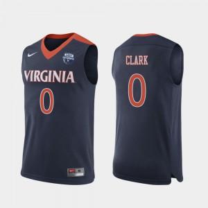 For Men Virginia Cavaliers #0 Kihei Clark Navy 2019 Men's Basketball Champions Jersey 335846-919