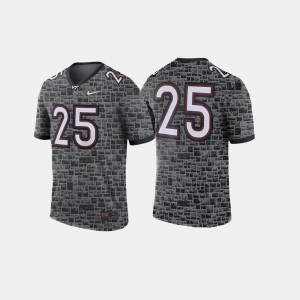 For Men VT Hokies #25 Anthracite College Football Jersey 810527-583